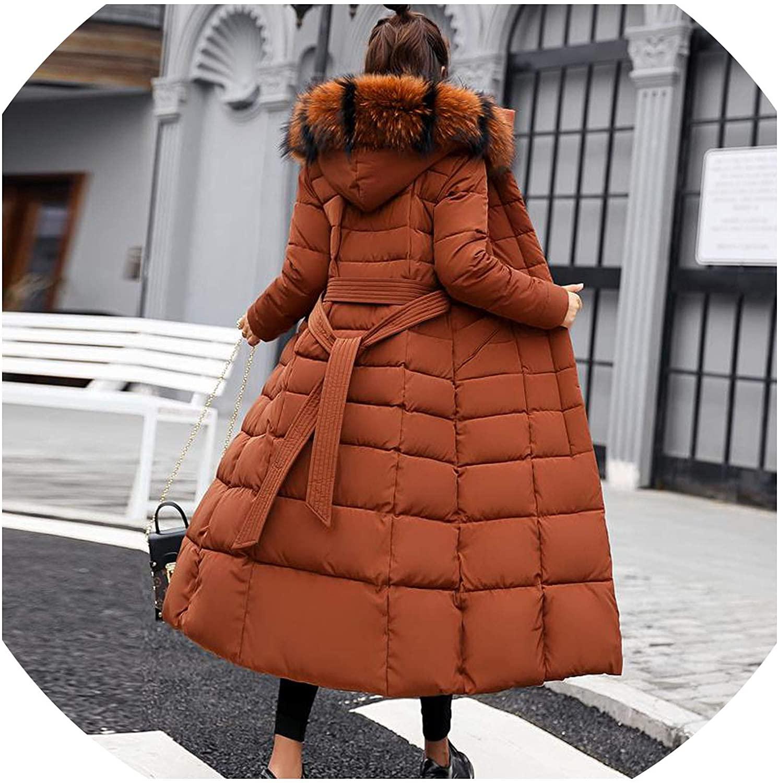 Take-Me Womens Coats Winter Jacket Down Cotton Long Fur Collar Slim Warm
