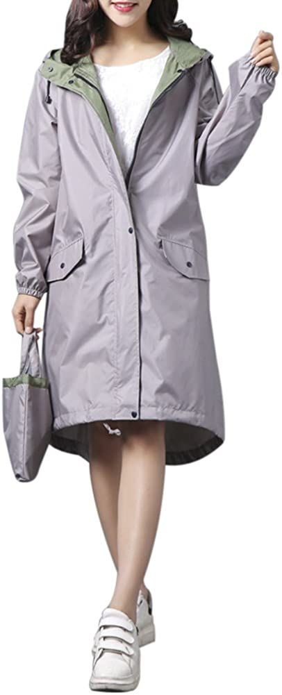 QZUnique Womens Lightweight Long Raincoat Waterproof Packable Double-Deck Hooded Raincoats Windbreak Jackets