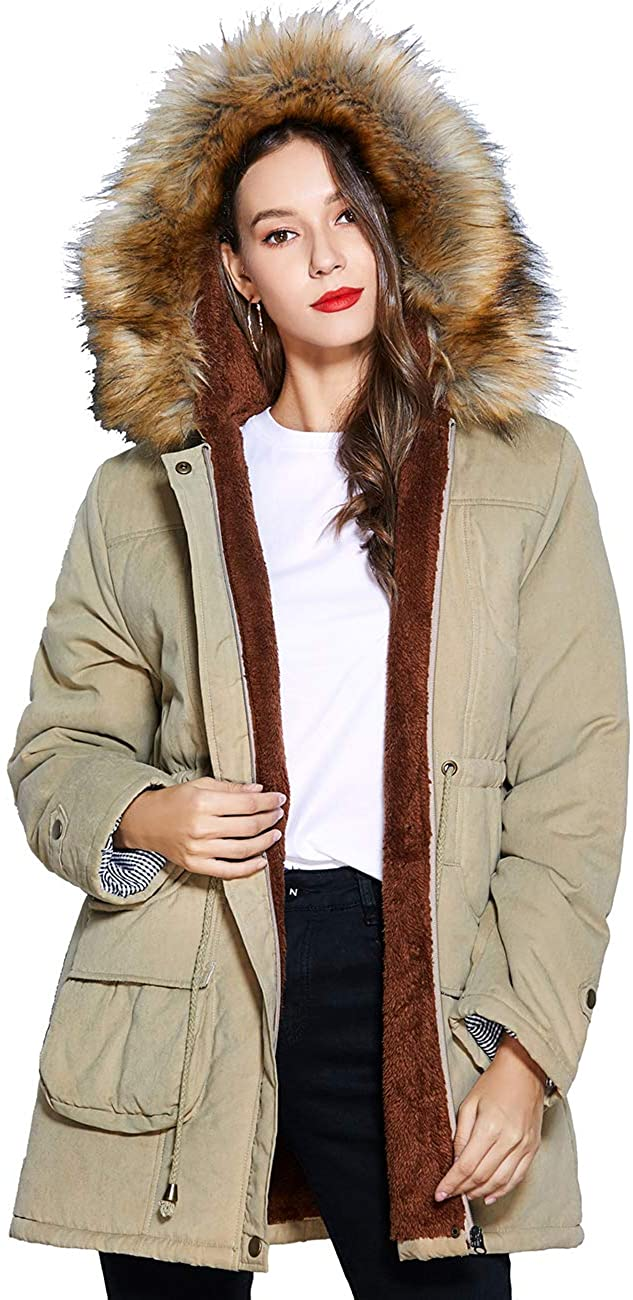 Freeprance Winter Coats for Women Parka Jacket Coat with Faux Fur Lining Hood Black