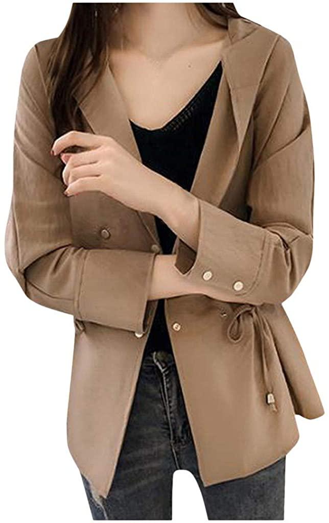 Yajiemen Women Fashion Solid Outerwear Pleated Jacket Button Long Sleeve Hooded Coats
