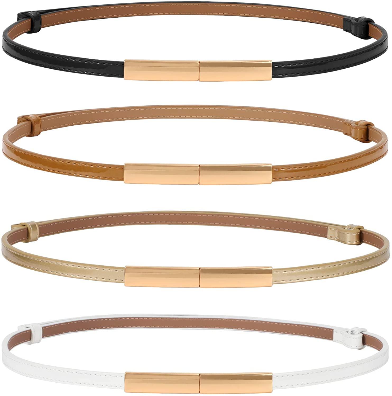 4 Pack Women Skinny Leather Belt Adjustable Fashion Dress Belt Thin Waist Belts for Ladies Girls