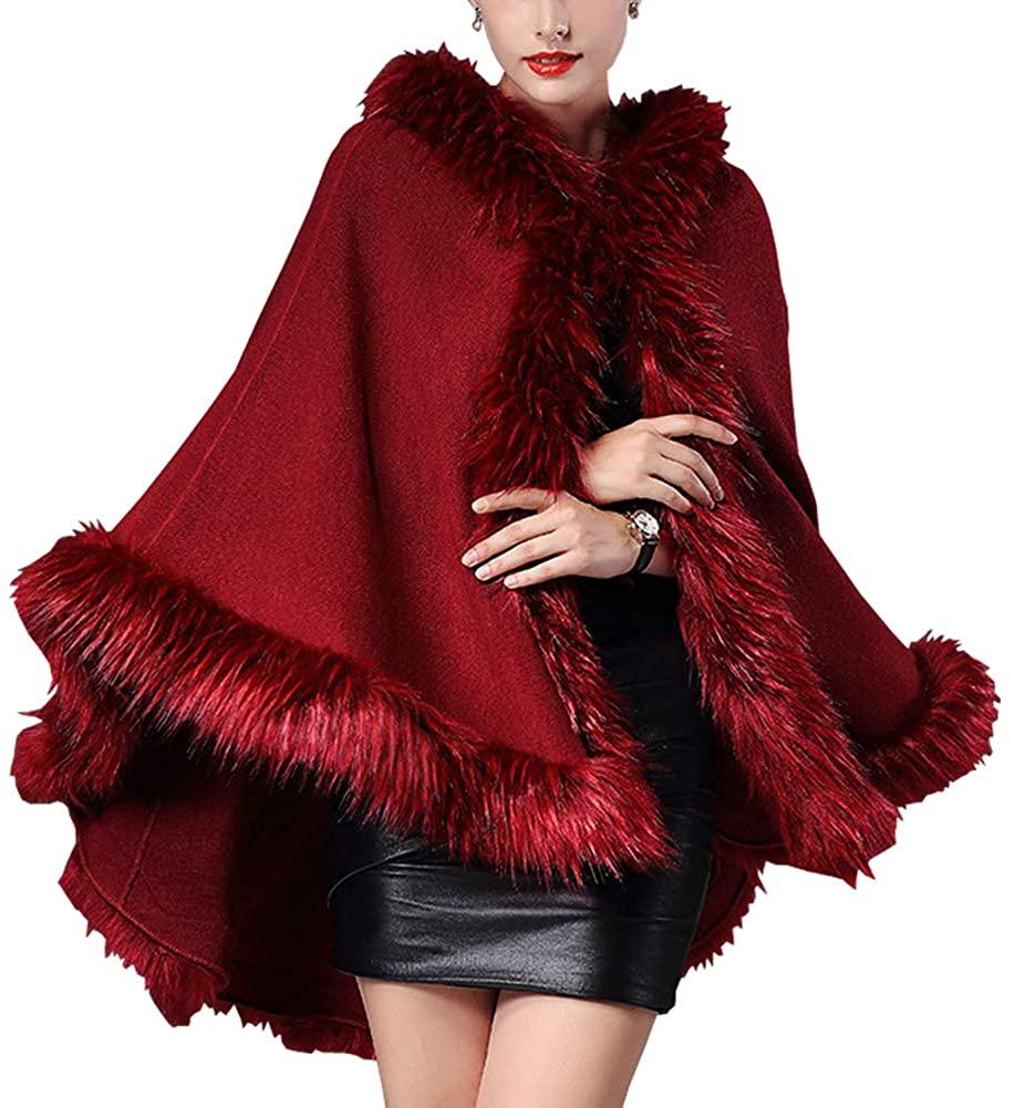 Michealboy Womens Faux Fur Shawl Cloak Cape Wrap Bridal Wedding Evening Cape for Winter Coat