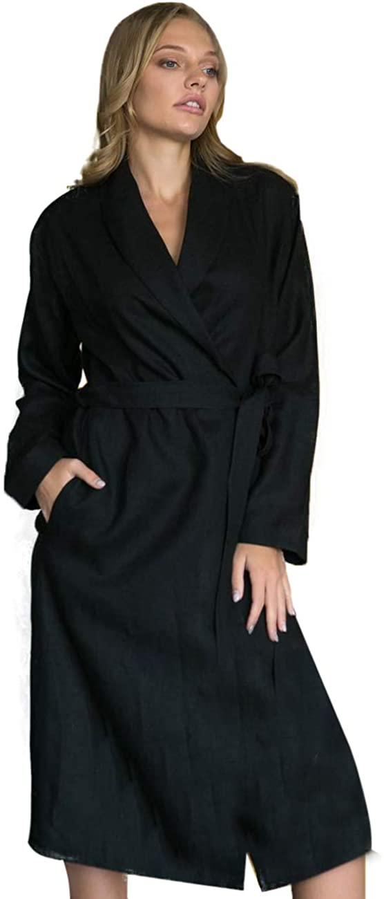 Women's Linen Dressing Gown Robe Bathrobe for Women Housewarming Gift Grey with Long Trim