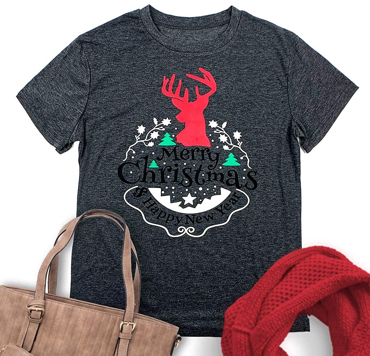 DXVLOIW Merry Christmas Shirt Women's Giraffe Printed T-Shirt Short Sleeve Christmas Tree Graphic Shirt