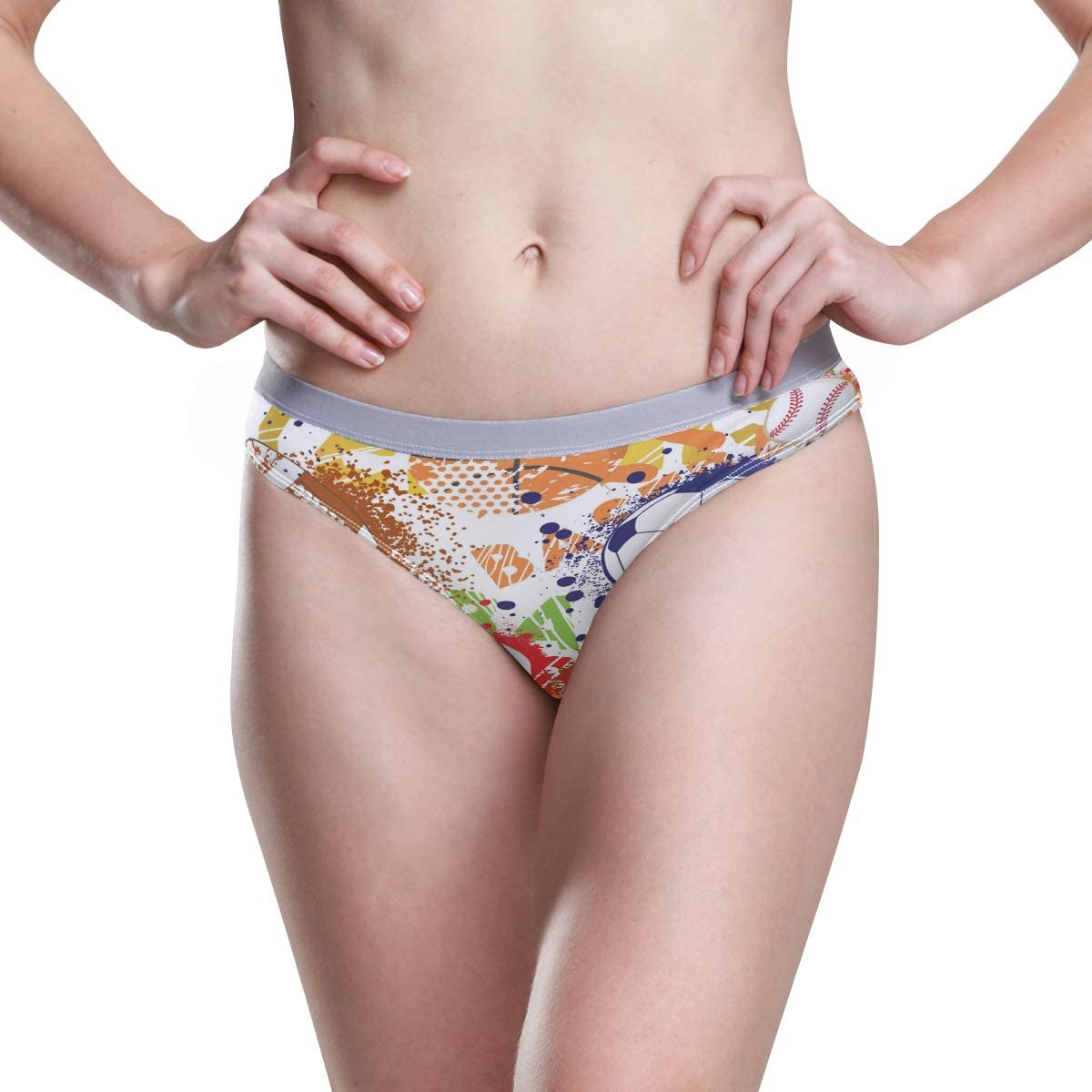 Womens Underwear Cheeky Panties Colorful Sport Ball American Football Basebal Volleyball Ladies High Cut Bikini Sexy Panty