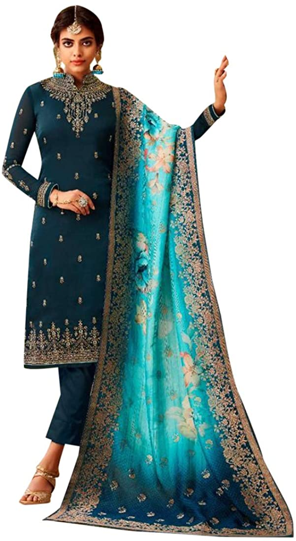8925 Dark Blue Indian Hit Latest Satin Georgette Straight Suit Embroidery Work Churidar Party Wedding Cocktail Wear Ethnic Traditional Semi stitched