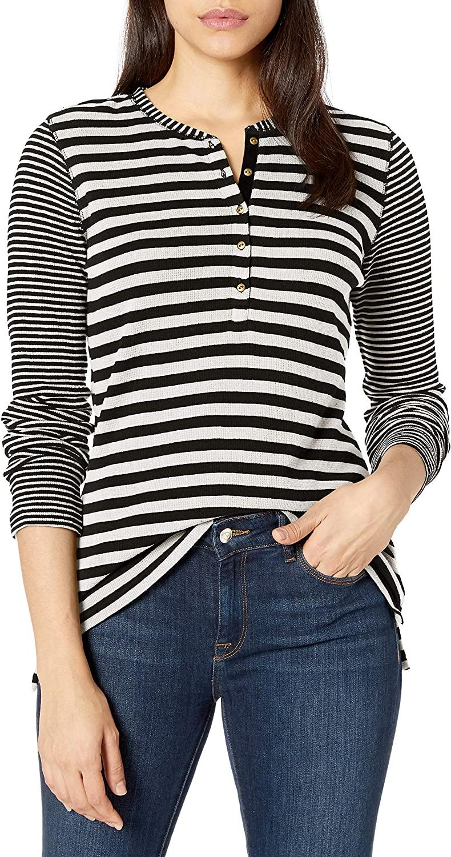 Chaps Womens Long Sleeve Alpine Waffle-Knit Henley Shirt