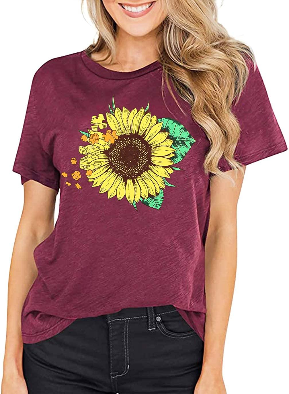 Sunflower Shirts Women Faith Tops Summer Casual Short Sleeve T Shirt Junior Teen Girls Funny Graphic Inspirational Tees