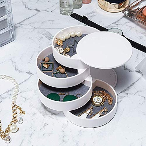 JOONOR Jewelry Trays - 4-Tier Jewelry Organizer Box, Display Tray 360°Rotating Showcase Case, Jewelry Accessory Storage Tray with Lid(Plastic, Small)