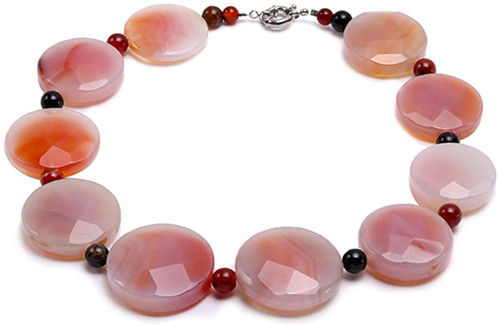 JYX Agate Necklace 40mm Pink Round Disc-shaped Faceted Agate Necklace 22