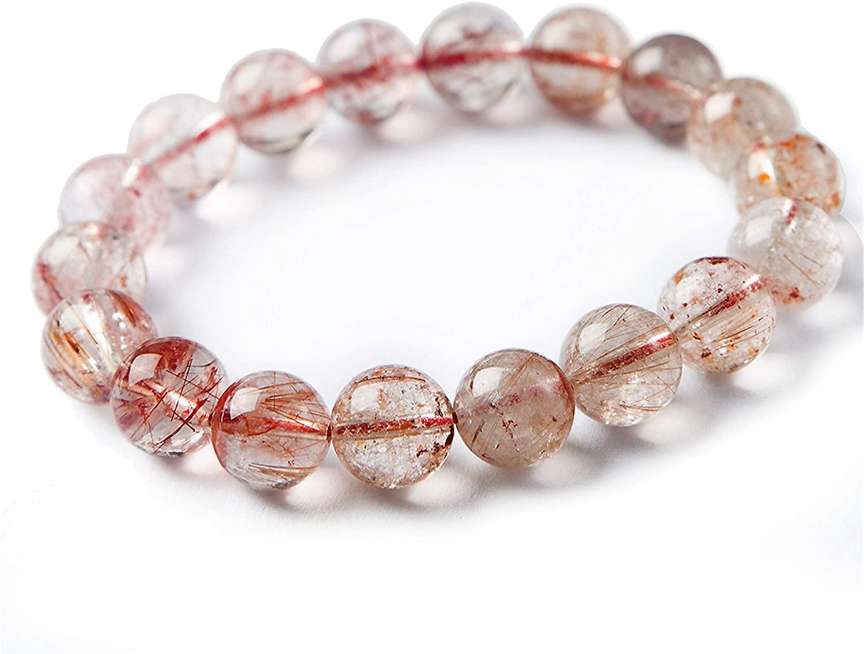 11mm Natural Red Rutilated Quartz Crystal Round Bead Stretch Bracelet