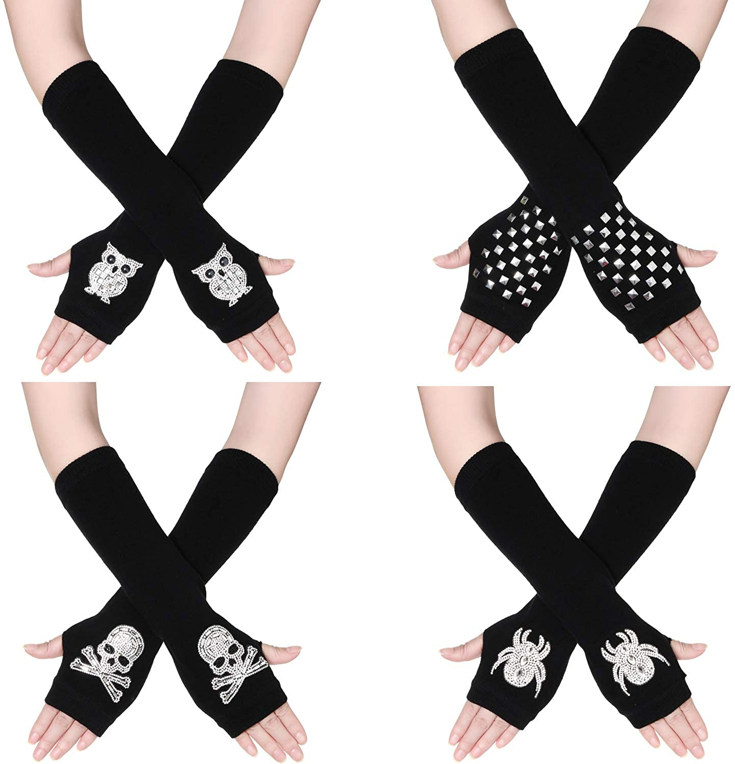 4 Pairs Women Knit Arm Warmers Punk Fingerless Gloves with Thumb Hole for Party Daily Wear