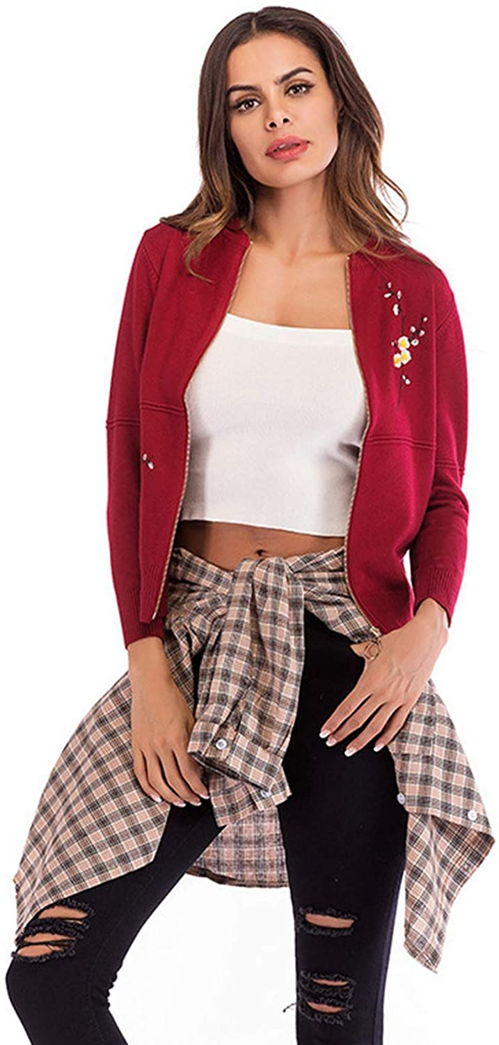 Dawwoti Women's Zipper Jacket Baseball Bomer Casual Outwear
