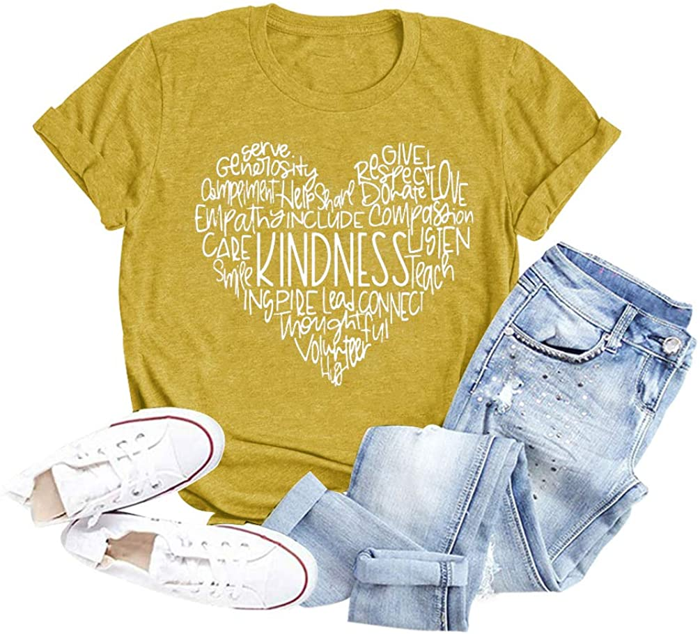 Womens Kindness Graphic Tees Heart Print Inspirational T Shirts Casual Short Sleeve Tops