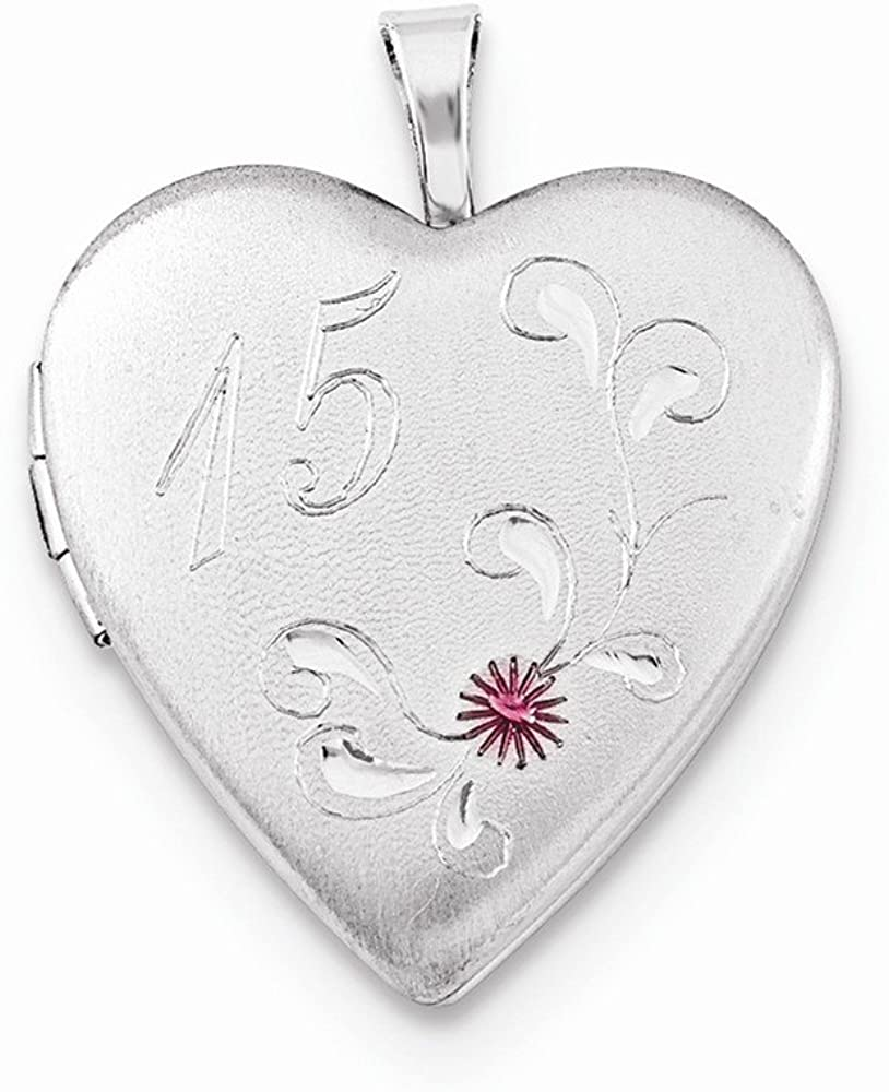 FB Jewels Solid 925 Sterling Silver 20mm Enameled Diamond-cut 15 Heart Locket