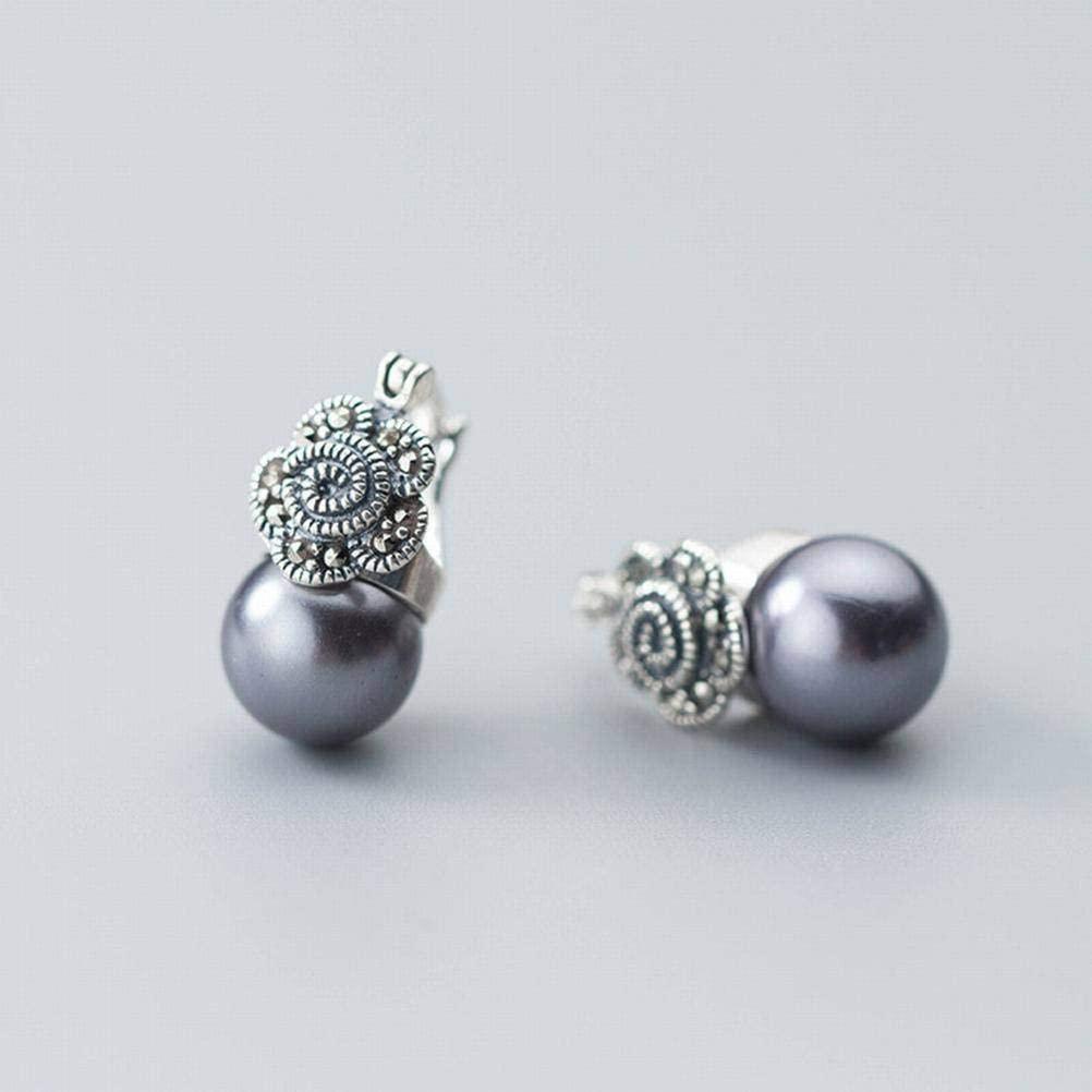 K-Earing S925 Silver Ear Nail Female Simple Thai Silver Flower Gray Black Bead Synthetic Pearl Ear Jewelry