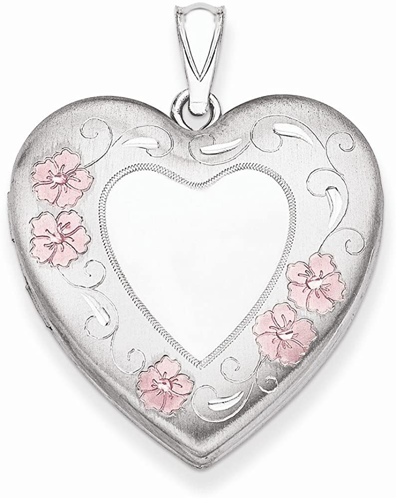 Lockets Sterling Silver 24mm Enameled Floral Border Heart
