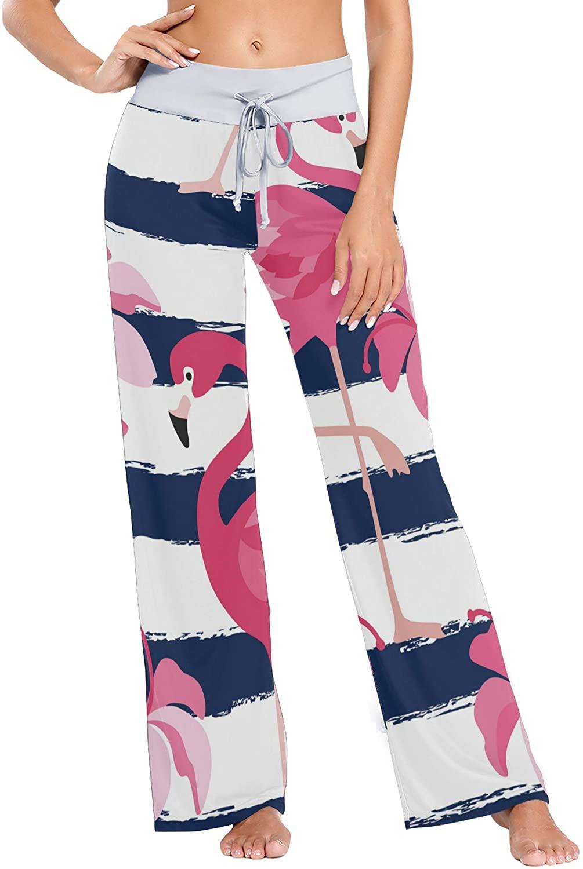 VVIEER Pink Flamingo Print Womens Sleepwear Loose Palazzo Casual Drawstring Yoga Pants