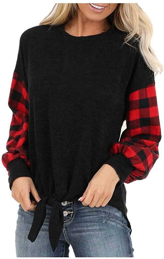 ESKNAS Women's Sweatshirt Checkered Plaid Knot O-Neck Splice Tops