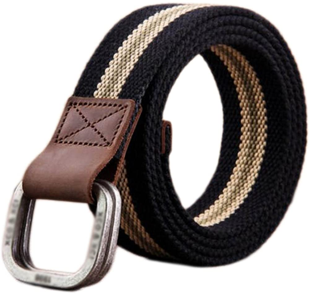 Mens Belt Canvas Braided Belts for Man with Double Ring Buckle(A04)