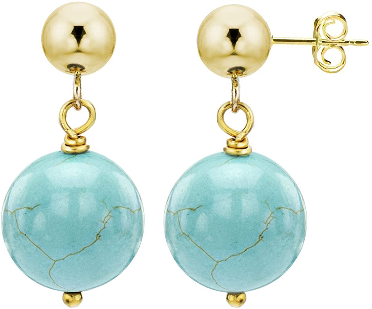 14k Yellow Gold with 8mm Simulated Blue Turquoise Stud Dangle Earrings
