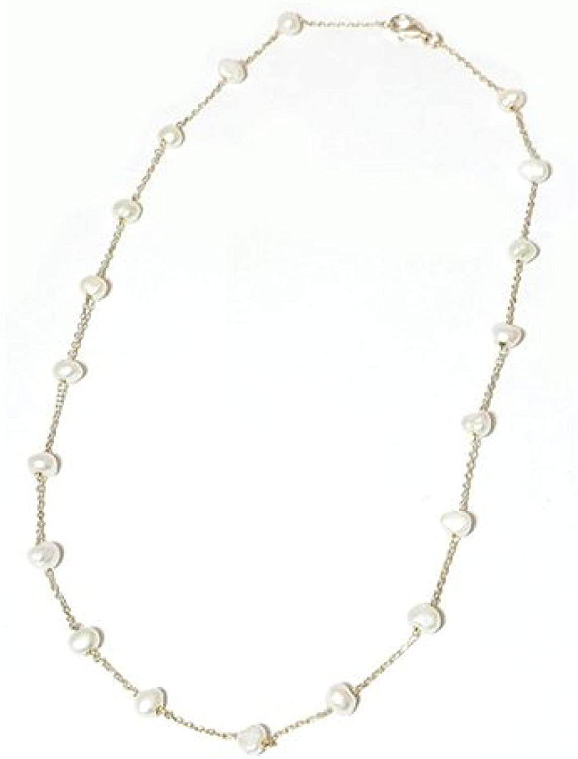 The Olivia Collection TOC Sterling Silver Freshwater Bleached White Pearl Necklace 17.5