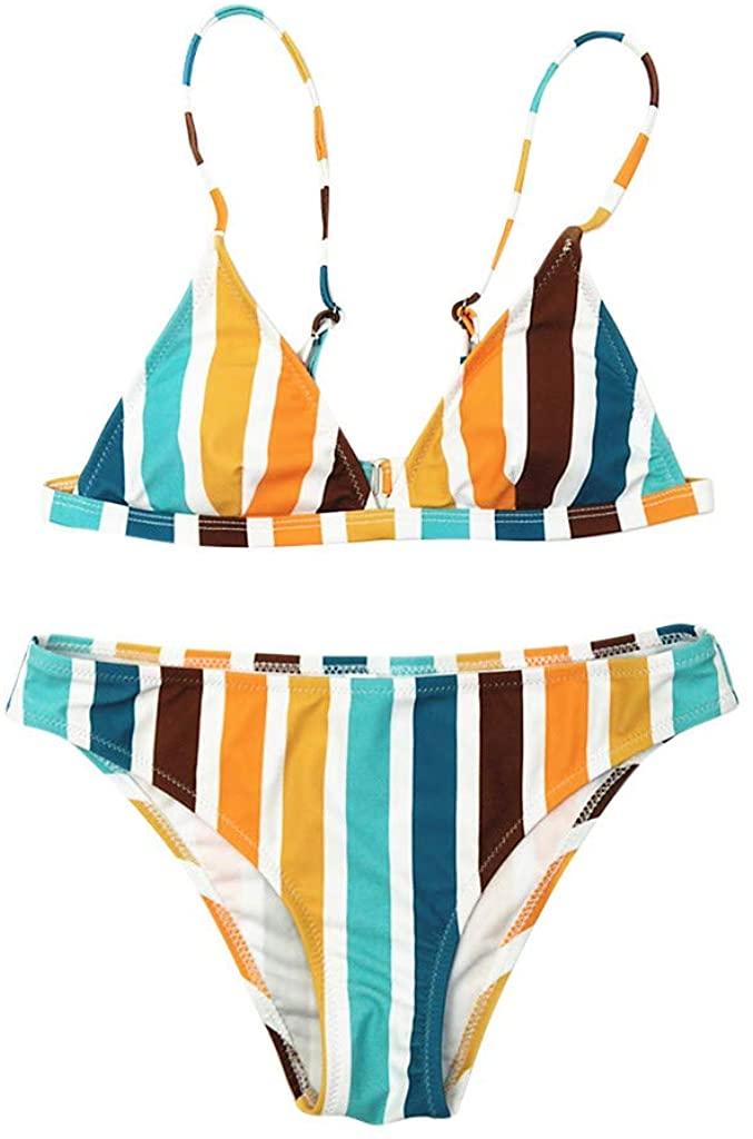 SoeHir Sexy Women's Rainbow Striped Print Swimwear Bikini Two Piece Bandage Swimsuit
