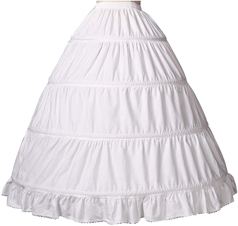 BEAUTELICATE Women 100% Cotton Hoop Petticoat Renaissance Crinoline Underskirt Skirt for Bridal Dress