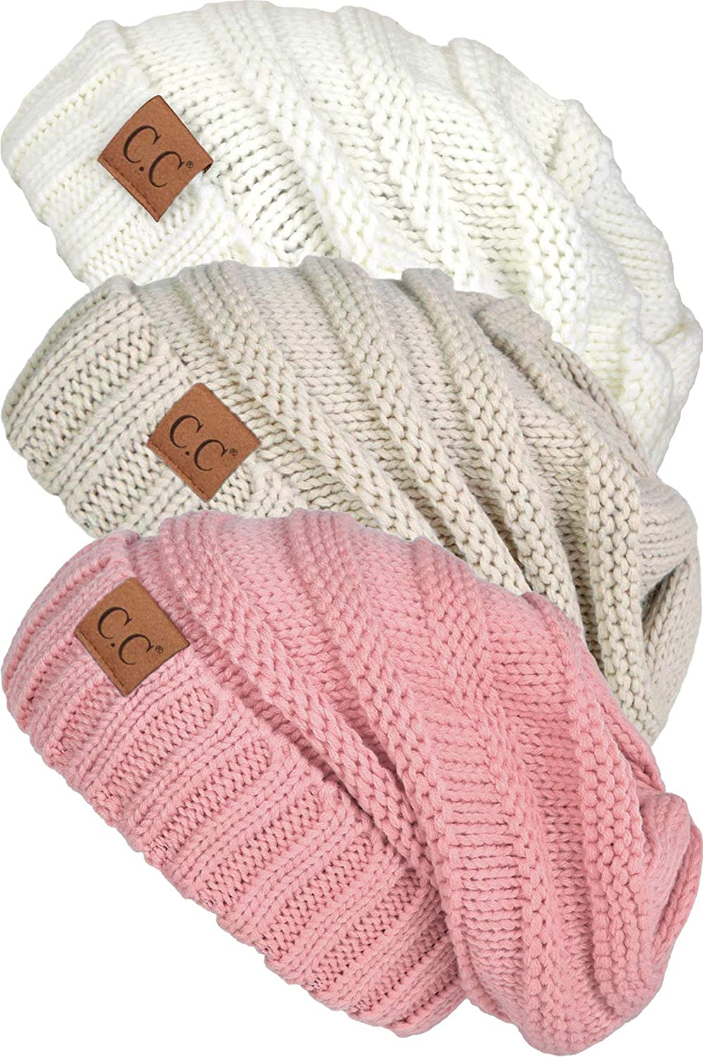 Funky Junque Trendy Warm Oversized Chunky Cable Knit Slouchy Beanie Bundles