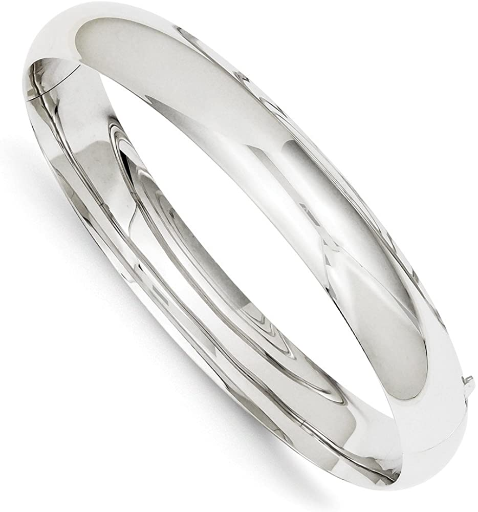 Jewelry Adviser Bangle Bracelets 14k White Gold High Polished 10.00mm Hinged Bangle