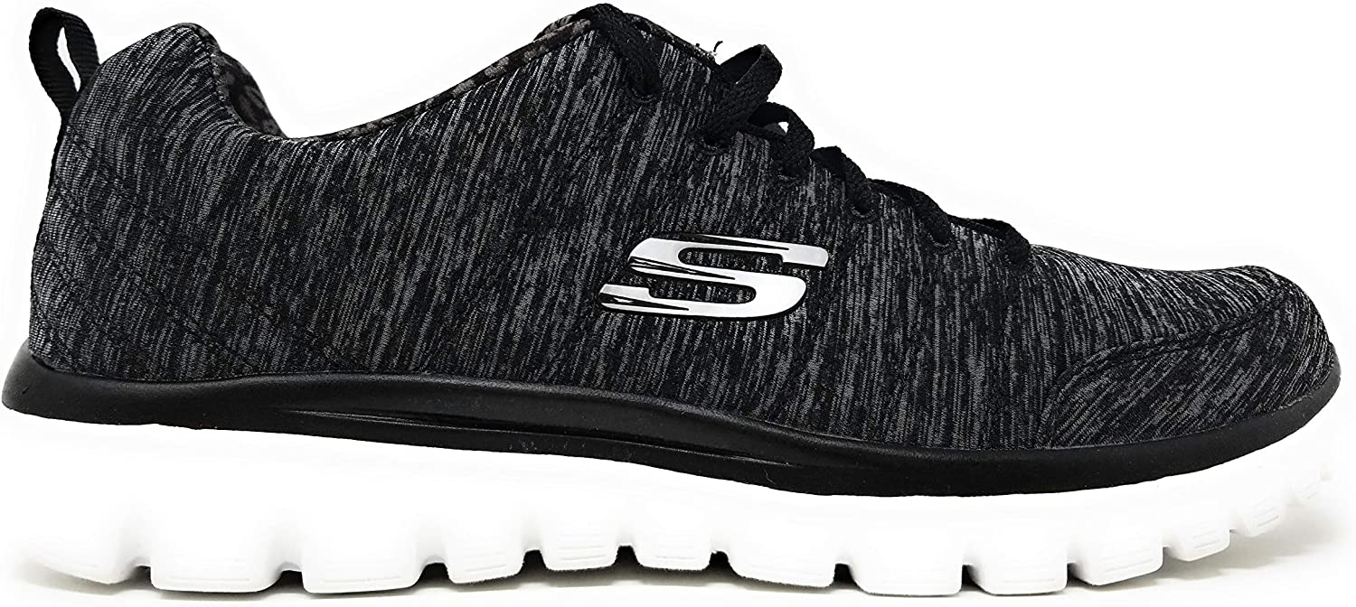 Skechers Graceful 2.0 Magnificent Journey Walking Shoes, 9.5 B US Wide fit, (Black/Charcoal/On Time) Wide fit