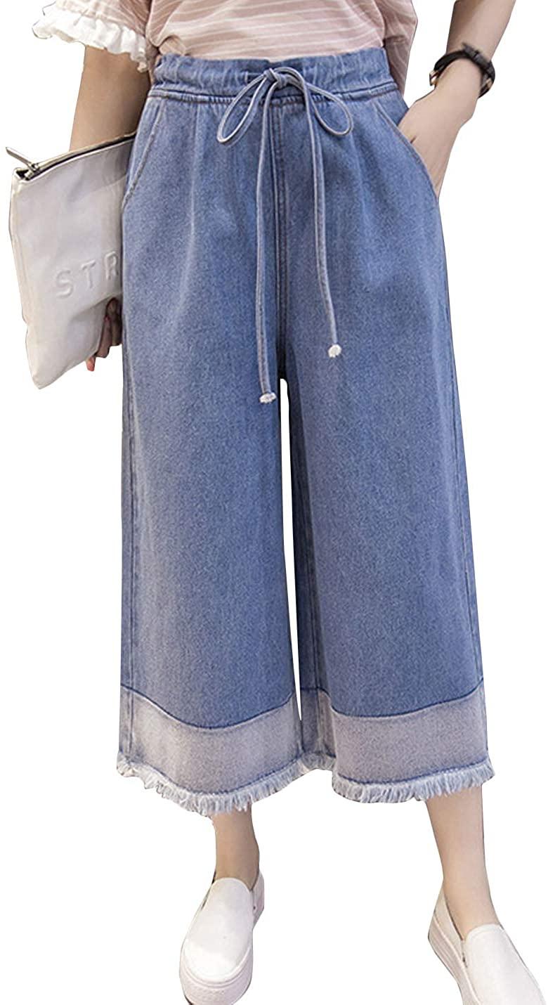 Flygo Women's Elastic Waist Wide Leg Frayed Hem Denim Cropped Jeans Pants (Medium, Blue)