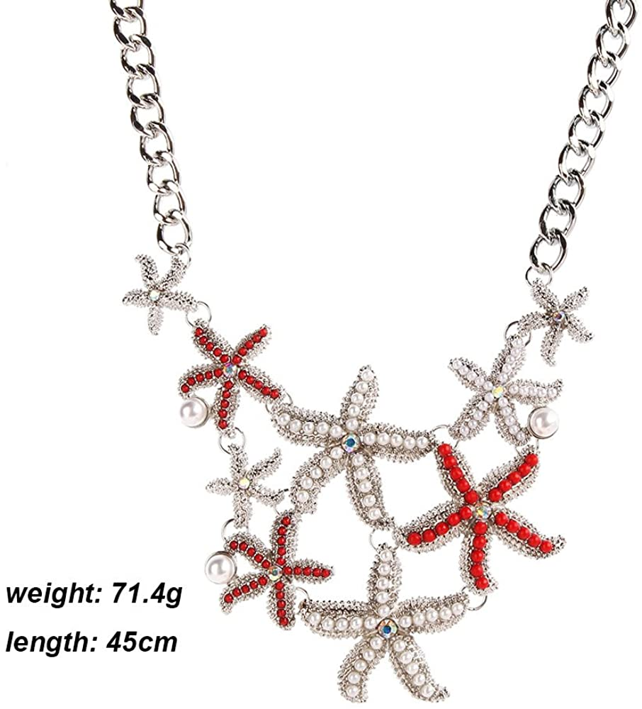 Meiligo Fashion Sea Shell Starfish Faux Pearl Collar Bib Statement Chunky Necklace