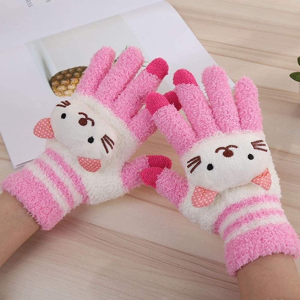 Slowoi Distaff Winter Quick Cute CartoonKnit Gloves Girl Women Fashion Coral Fleece Full Finger Mittens Gloves (Color : Pink, Size : 1)