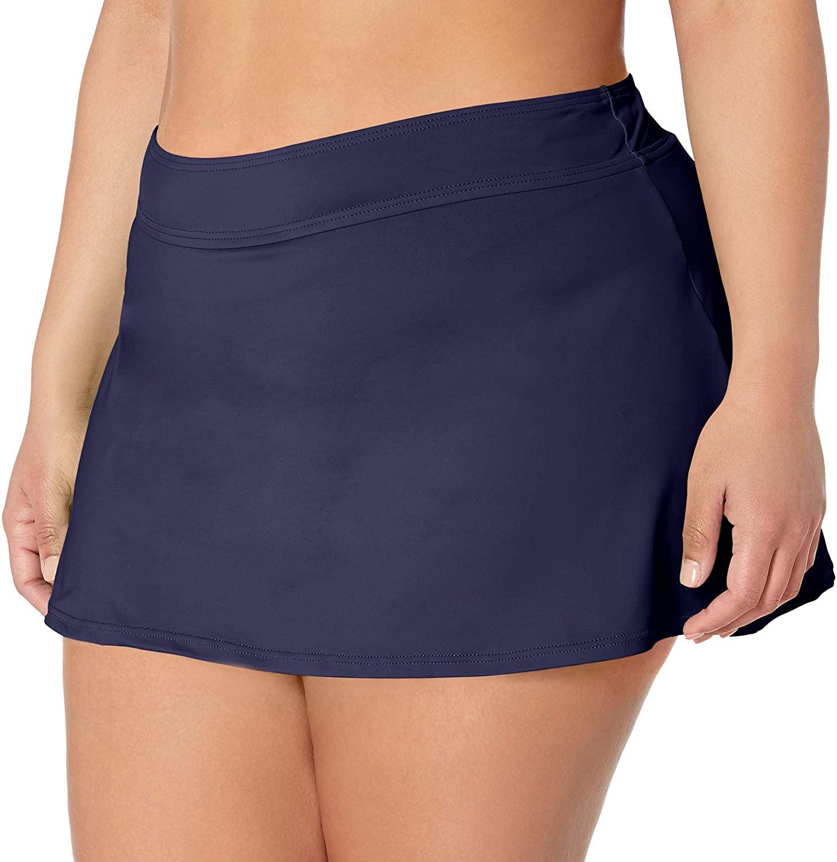 Anne Cole Womens Plus-Size Solid Rock Skirted Bikini Swim Bottom
