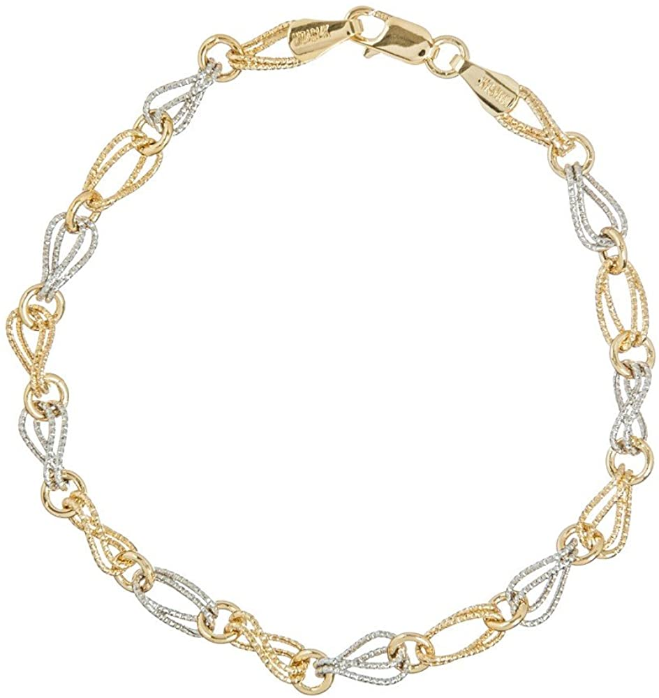 14k Yellow White Gold Alternating Double Textured Wavy Oval Cir Link Bracelet 7.25 Inch Jewelry Gifts for Women