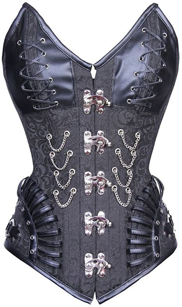 ZAMME Women's Steampunk Gothic Overbust Corset Lace Up Boned Bustier