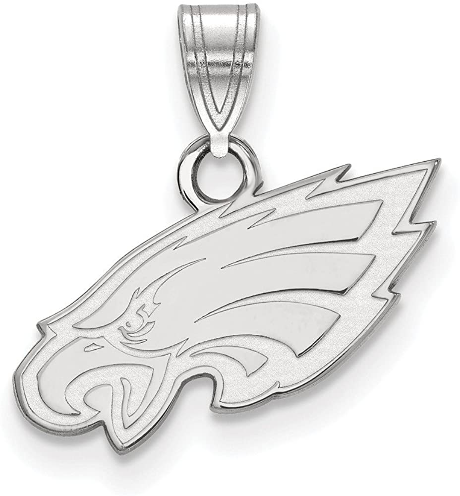 Sterling Silver Rhodium Plated Philadelphia Eagles Small Pendant, Sterling Silver
