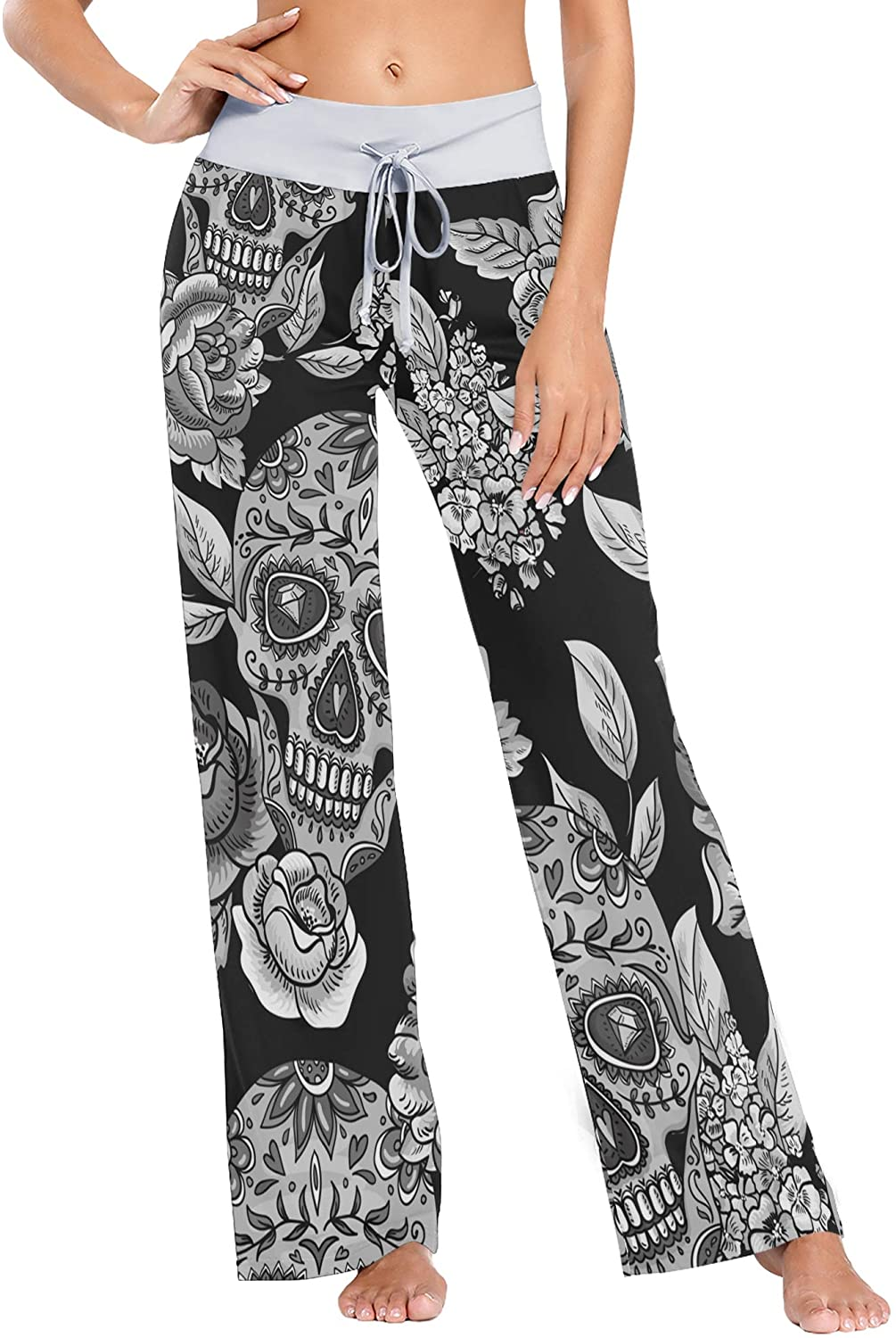 Art Pattern Skull Flowers Seamless Women Loose Palazzo Casual Drawstring Sleepwear Print Yoga Pants