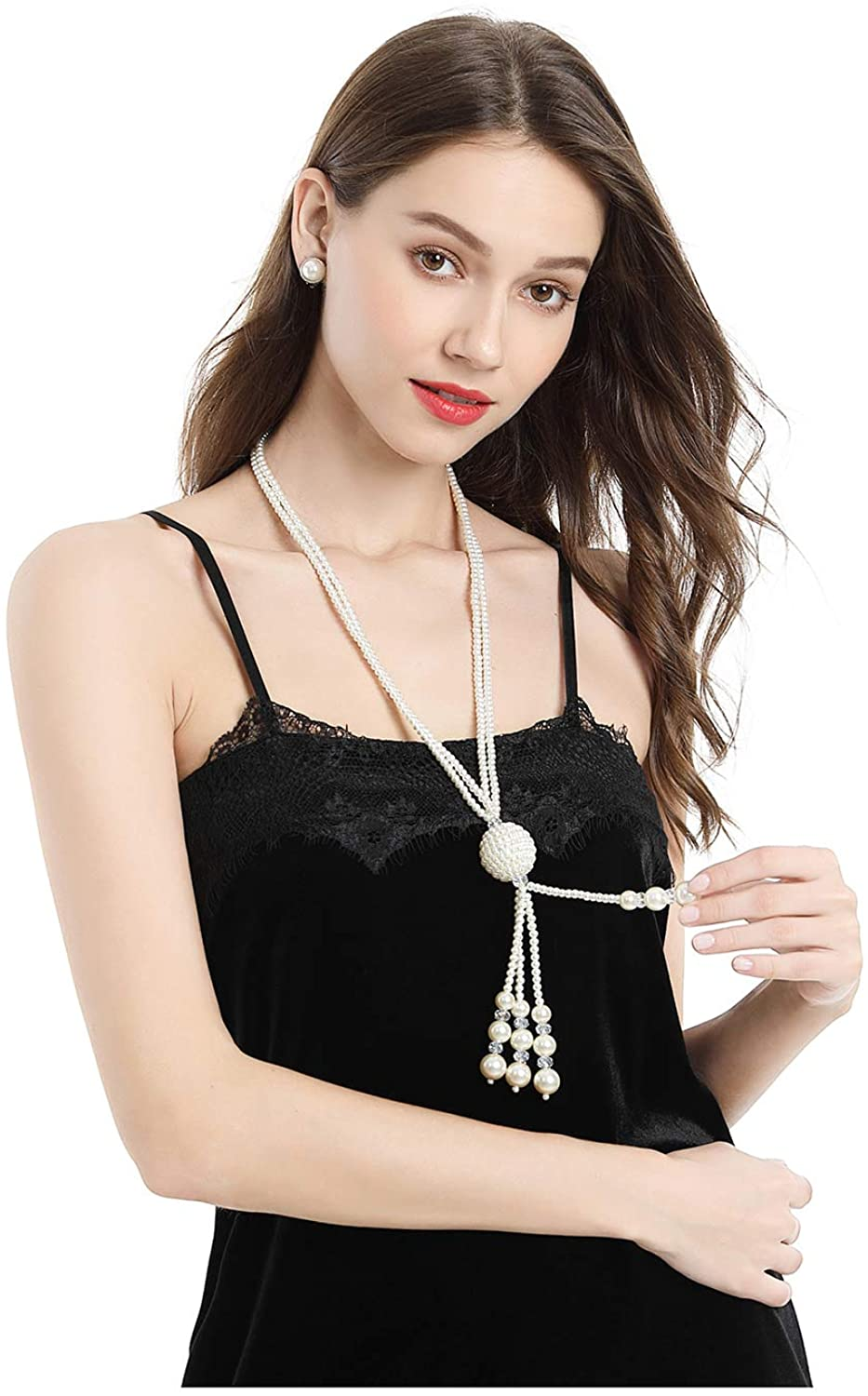 Yilanair Bohomeian Pearl Necklace Set Jewelry for Women Fashion Bead Long Necklaces Boho Costume