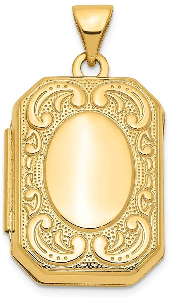 14k Yellow Gold Polished back Holds 2 photos Rectangle Locket Jewelry Gifts for Women