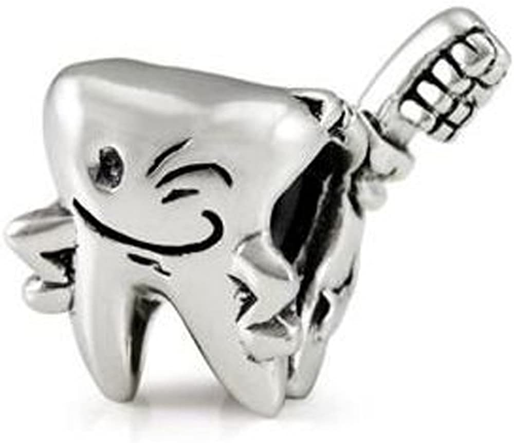 Sexy Sparkles Happy Tooth and Tooth Brush Charm Spacer Bead for Charm for Charm Bracelets