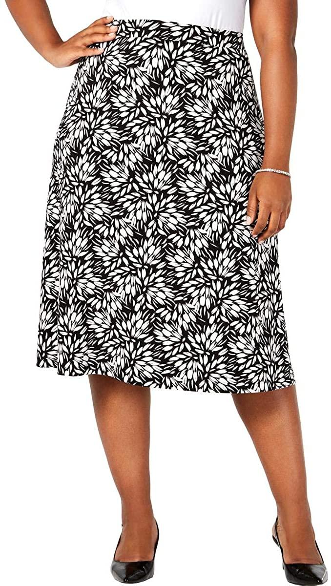 Kasper Womens Plus Printed Midi A-Line Skirt