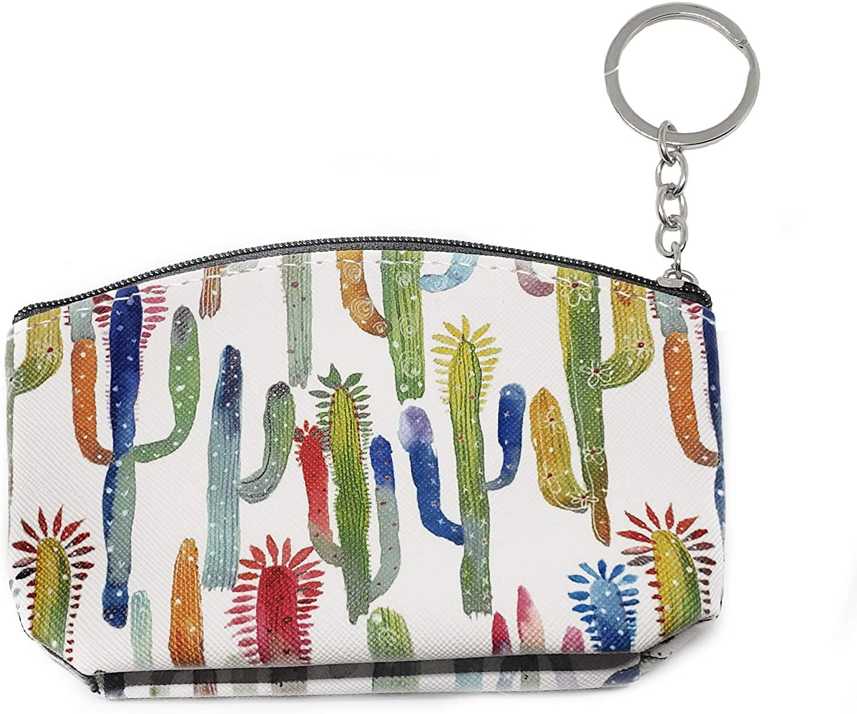 Cute Watercolor Cactus Zipper Pouch Cactus Keychain Wallet Mini Pouch Key Bag for Women Girls Gifts Southwest Cactus Souvenirs (Watercolor)