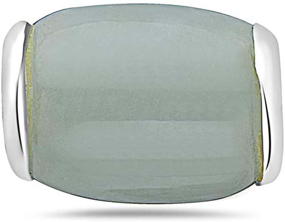 .925 Sterling Silver Barrel Cylinder Green Jade Slider Barrel Necklace 18 inches Chain Included