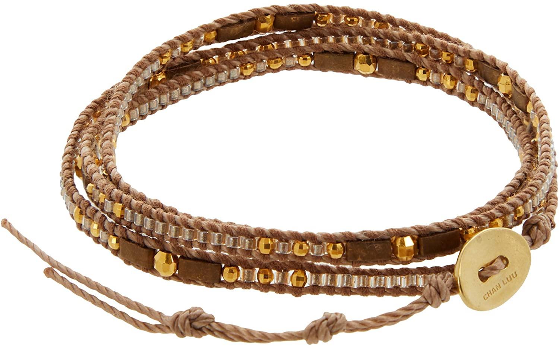 Chan Luu Leather and Bead Three Wrap Bracelet