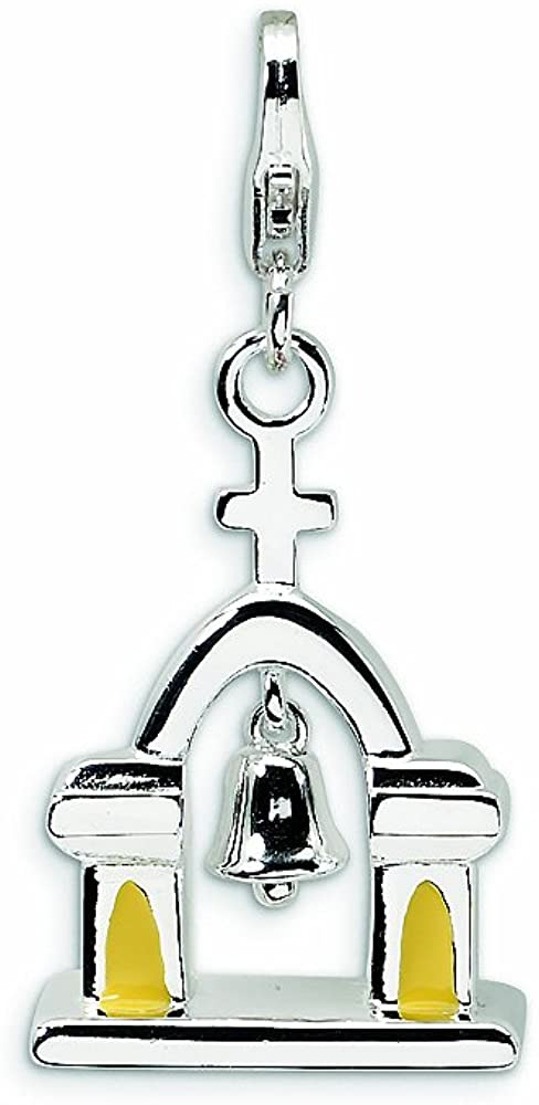Amore LaVita Sterling Silver Enameled Church Bell Lobster Clasp Charm (Moveable) for Charm Bracelet