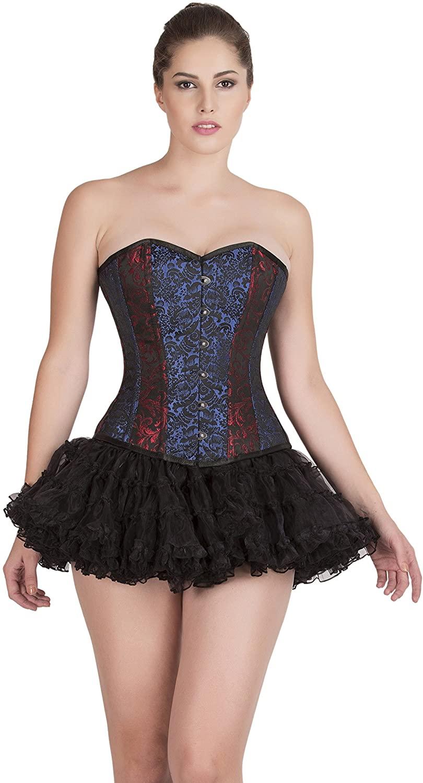 CorsetsNmore Red Blue Black Brocade Goth Burlesque Waist Training Bustier Overbust Corset Top