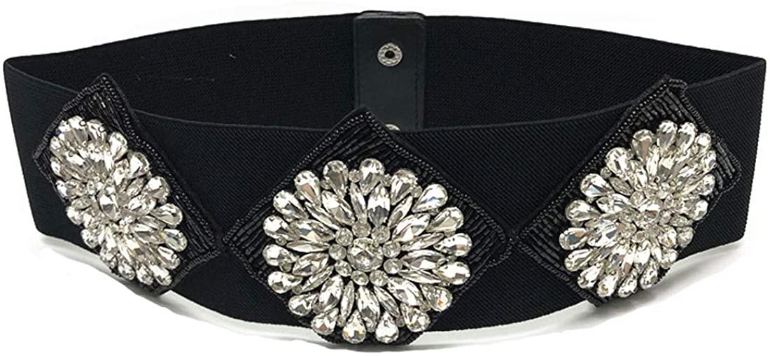 Globalwells Women Rhinstone Belt personality Crystal floral Buckle Cummerbund Wide Elastic Waistband Cinch stretch Belt