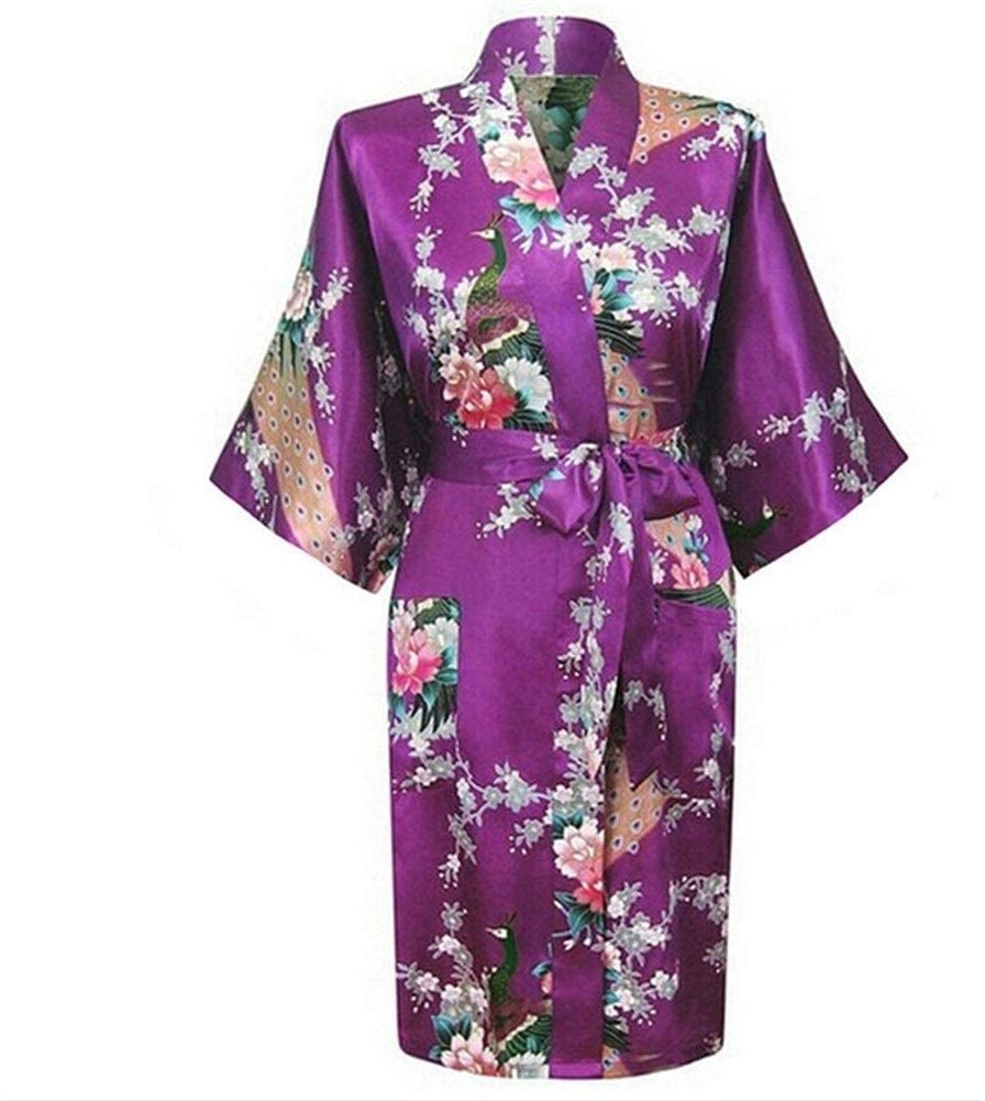 GODVC Sexy XXXL Bride Bridesmaid Wedding Dressing Robe Gray Lady Kimono Bath Gown Large Size Casual Sleepwear Floral Nightgown (Color : Purple1, Size : S)